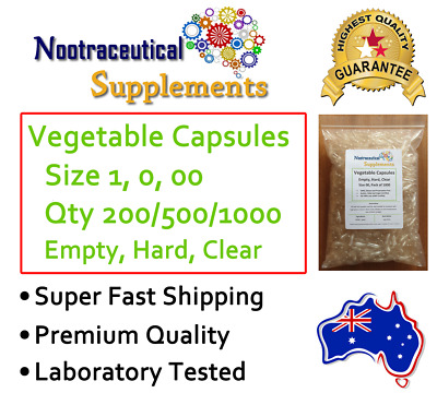 AU11.95 • Buy Vegetable Empty Capsules Size 1 0 00 000 Clear Hard Veggie Vegan No Gelatin