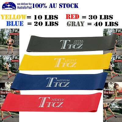 AU11.85 • Buy 4X Heavy Duty Resistance Band Loop Power Exercise Yoga Fitness GYM Training AUS