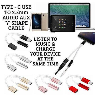 Y DUAL TYPE-C USB To 3.5mm AUX Jack Headphone Adapter/Connector Cable For HUAWEI • 3.29£