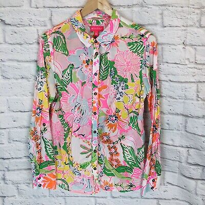 $18.99 • Buy Lilly Pulitzer Target Womens Large Long Sleeve Floral Button Down Shirt 1a2