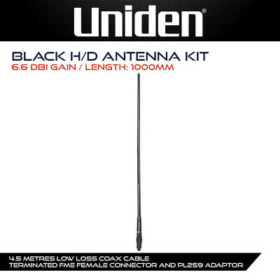 AU135.49 • Buy UNIDEN AT890BK FIBREGLASS RAYDOME UHF CB ANTENNA 6.6dBi BLACK 1 METRE LONG