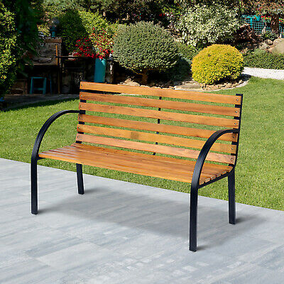 £68.99 • Buy Outsunny 2 Seater Garden Bench Metal Wooden Slatted Seat Backrest Patio Chair