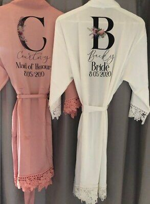 £16.50 • Buy Personalised Bridal Robe, Satin Lace Dressing Gown, Bride Dressing Gown