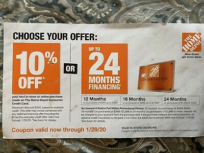 $54.95 • Buy Home Depot 10% Off Or No Interest Up To 24 Months Online Coupon Expires 01/29/20