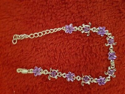 AU0.99 • Buy BEAUTIFUL SILVER ANKLET With PURPLE HIBISCUS FLOWER, NEW, UNWANTED GIFT HAWAII