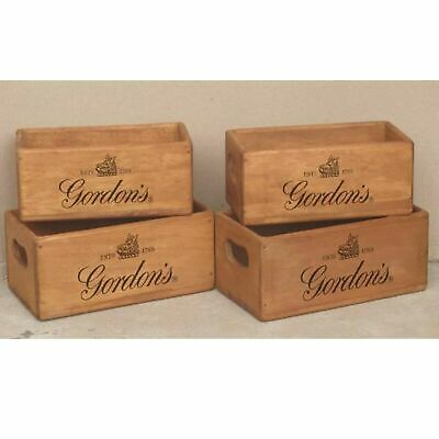Gordons Gin Wooden  Box Kitchen Spares Crate Classic Retro Gift Vintage Sign • 11.99£