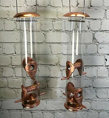£14.99 • Buy Copper Style Hanging Bird Seed Feeder With 4 Feeding Ports Wild Birds (Set Of 2)