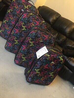"19""Butterfly Print Strong&Lightweight Cabin Suitcases Trolley Travel Luggage's • 22£"