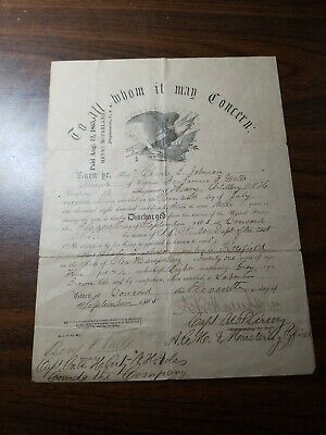 $124.99 • Buy 1st New Hampshire Heavy Artillery Civil War Discharge & Research