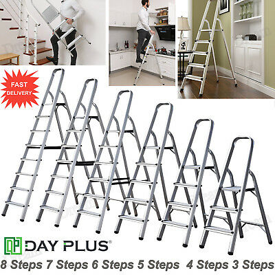 Aluminium Step Ladder 3 4 5 6 7 8 Step Stepladder DIY Tools Lightweight EN131 UK • 8.88£