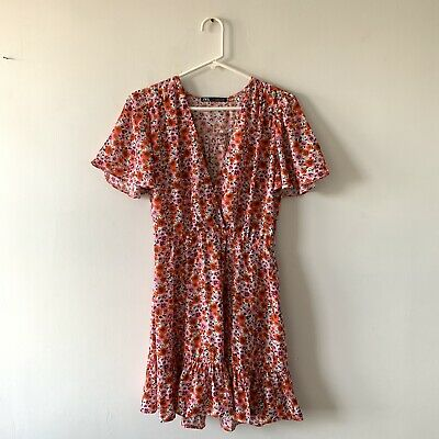 $17.99 • Buy Zara Pink Orange Floral Print Mini Faux Wrap Dress Flounce Ruffle Size Small