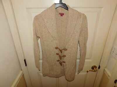 $2.50 • Buy Merona Women's Long Sleeve Beige Collared Hook And Loop Cardigan Sweater Size M