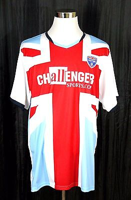 $1.99 • Buy CHALLENGER BRITISH SOCCER SHORT SLEEVE SPORTS ADULT RED WHITE BLUE JERSEY Sz XL