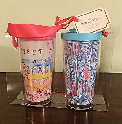 $39 • Buy NWT Lilly Pulitzer Tumbler Set Of 2 Red Right Return/Meet Me At The Beach