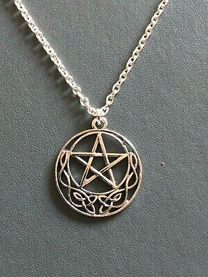 CELTIC MOON PENTAGRAM NECKLACE PENDANT Gothic Wicca Pagan18  Silver Plated Chain • 3.50£