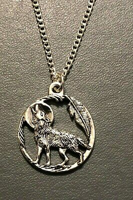 HOWLING WOLF MOON NECKLACE PENDANT Gothic Wicca Pagan18  Silver Plated Chain • 3.50£