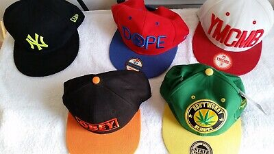 Five Multicoloured Flat Caps, Dope / NY / Obey / YMCMB, 2 New & 3 Used VGC • 20£