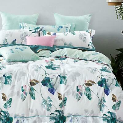 AU39 • Buy Single/KS/Double/Queen/King/Super K 100% Cotton Quilt/Duvet Cover Set-Plantain