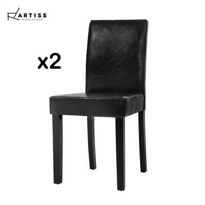 AU130 • Buy Artiss 2x Dining Chairs Leather Pad Chair High Back Wood Cafe Kitchen Black