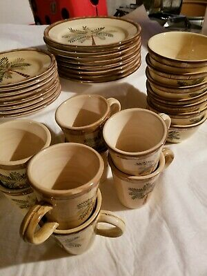 $60 • Buy Set For 4 Home Trends, West Palm Tree Dinner Salad Plates  Mugs Bowls 15 Pc