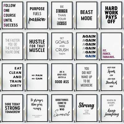Gym Workout Posters Large Sizes Motivational Exercise Quotes Wall Art Prints • 3.49£