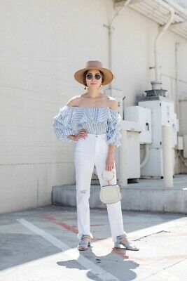 $17.99 • Buy Zara Blue Striped Ruffle Flunce Off The Shoulder Blouse Top Size Small