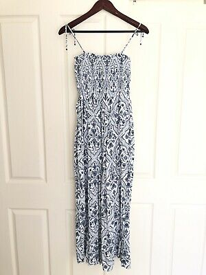 AU59 • Buy Tigerlily Blue And White Print Jumpsuit Shirred Top Tie Shoulder Straps Size 12