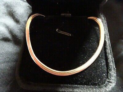 Brand New 18k Rose Gold On Sterling Silver SLIM FLAT SNAKE Chain Necklace • 7.95£