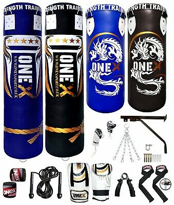 AU112.38 • Buy Heavy 3ft 4ft 5ft Filled Hanging Punch Bag Boxing Set MMA Punching Training Pads