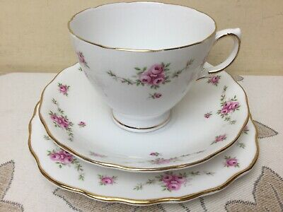 Royal Osborne Bone China Tea Trio Cup Saucer & Side Plate Pink Roses Superb Cond • 7.99£