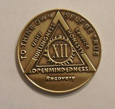 $3.80 • Buy Aa Bronze Alcoholics Anonymous 12 Year Sobriety Chip Coin Token Medallion NEW