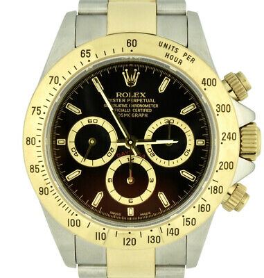 $13500 • Buy 1999 Rolex Daytona 16523 Steel & 18k Gold Zenith Black Dial 40mm Unpolished MINT