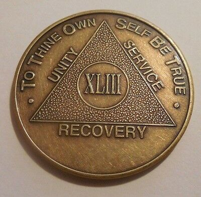 $3.20 • Buy Aa Alcoholics Anonymous Bronze 43 Year Coin Token Medallion