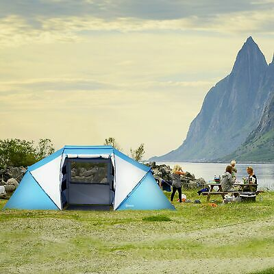 Outsunny 4-6 Persons Camping Tent Dome Family Travel Group Hiking Room Fishing • 94.99£