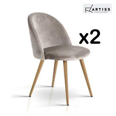 AU78.20 • Buy Dining Chairs Velvet Seat Chair Kitchen Cafe Furniture Iron Leg Grey X2