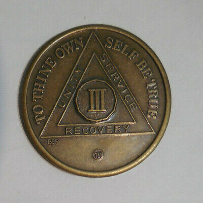 $3.20 • Buy Aa New Alcoholics Anonymous Bronze 3 Year Recovery Sobriety Coin Token Medallion