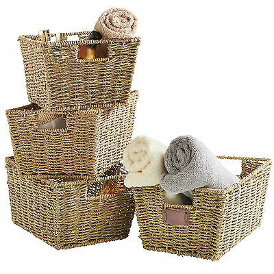VonHaus Seagrass Wicker Baskets Storage Organisers Set Of 4 Gift Hamper Natural  • 29.99£