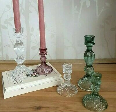 £11.99 • Buy Glass Candlestick In Vintage Green Amethyst Blue Or Clear Glass 2 Sizes & Styles