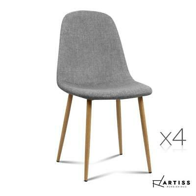 AU158.34 • Buy Artiss Dining Chairs Fabric Chair Seat Kitchen Cafe Modern Iron Light Grey X4