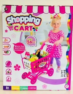 £19.99 • Buy Kids Childrens Shopping Trolley Cart Role Play,Fun With 56 Plastic Fruit Food Uk