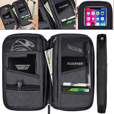 AU9.02 • Buy Travel Wallet Passport Holder RFID Organiser Pouch For Cards Documents IDS Money