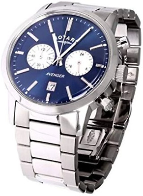 Rotary Men's Quartz Watch With Blue Dial Chronograph Display And Silver Stainles • 365£