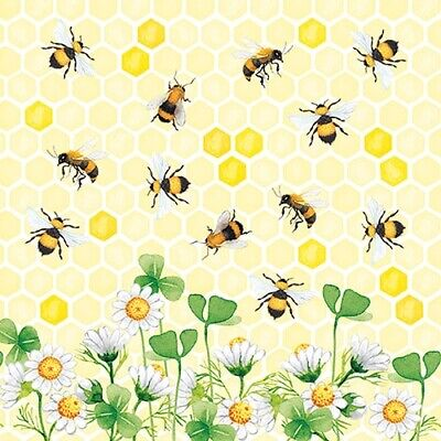 £4.95 • Buy 20 Paper Party Napkins Honey Bees Bee JOY 20 3 Ply Luxury Tissue Serviettes