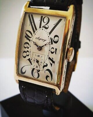 RARE, 1920s, Asprey, Art Deco, GOLD/leather Watch, Swiss Movement • 1,595£