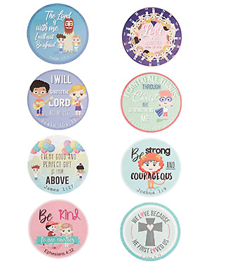 SET OF 8pcs Christian Bible Verse Stickers For Kids Teachers Religious  • 1.99£