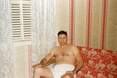 $ CDN7.05 • Buy SHIRTLESS MAN WITH HAIRY CHEST WEARING WHITE SHORTS 1953 35mm PHOTO SLIDE