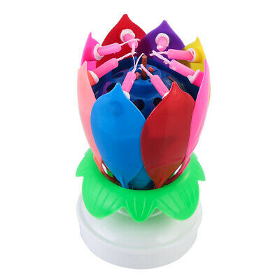 $ CDN17.29 • Buy Multicolor Rotating Lotus Cake Candle Innovative Topper Musical Flower Candle