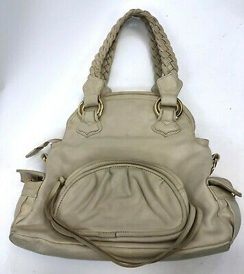 $26.99 • Buy Vintage 14  TREESJE Cream Leather Pocket Flap Bucket Satchel Shoulder Bag Purse