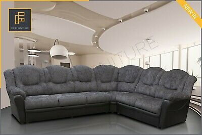 New LARGE CORNER SOFA TEXAS High Back Chenille Fabric Grey Black 235cm X 295cm  • 659£