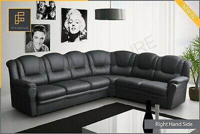 New LARGE CORNER SOFA TEXAS High Back Faux Leather Black Grey Brown • 649£